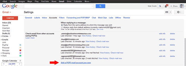 Gmail - Add POP3 mail