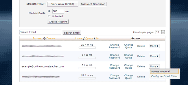 cPanel - Access Webmail