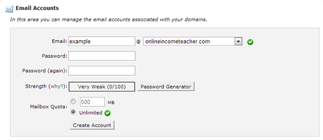 cPanel - Create Email